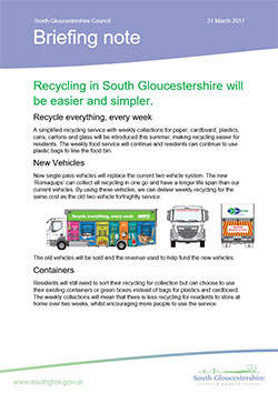Recycling in South Gloucestershire will be easier and simpler
