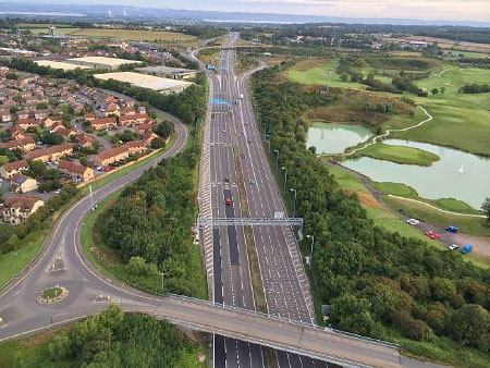 Aerial Photograph from a Balloon of the M4 'Smart Motorway' on Sunday 24th August 2014