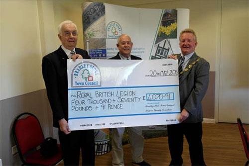 Mayor Councillor John Ashe presents a Charity Cheque to 'The Royal British Legion' (Pictured Brian Hewitt & John Moloney) – Photograph Courtesy of Councillor Andy Ward.