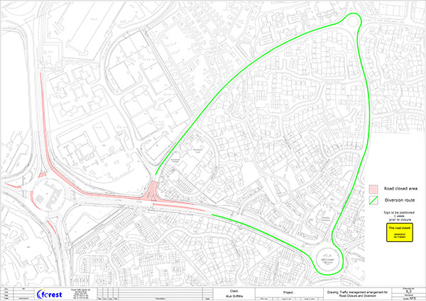 Woodlands Lane Closure & Diversion Route - TTRO Application Drawing